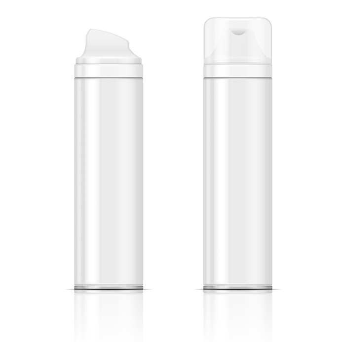 White shaving foam bottles